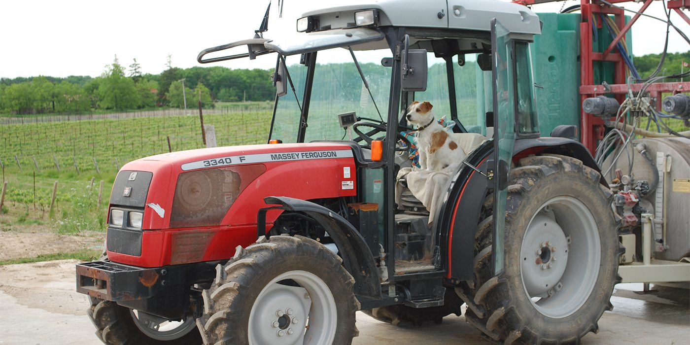 Bocci driving the tractor